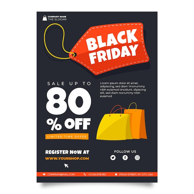 Hand drawn black friday flyer template Free Vector