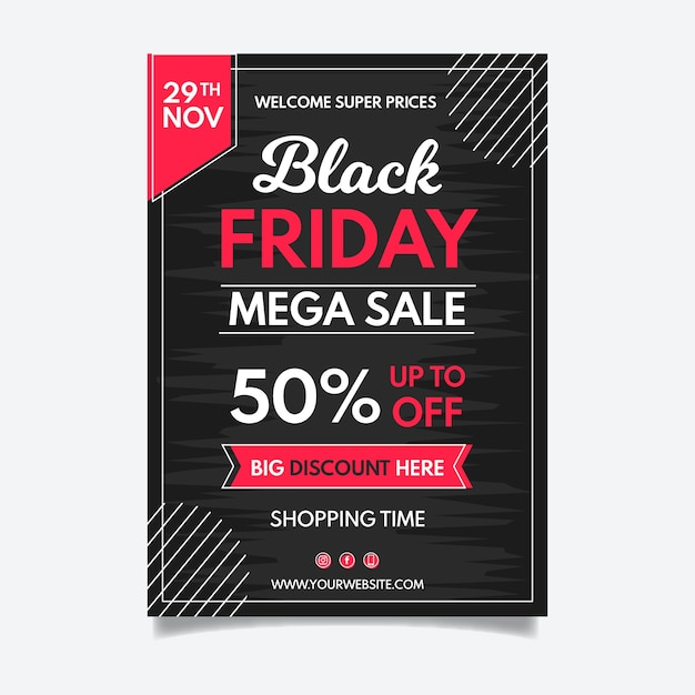 Hand drawn black friday flyer Free Vector