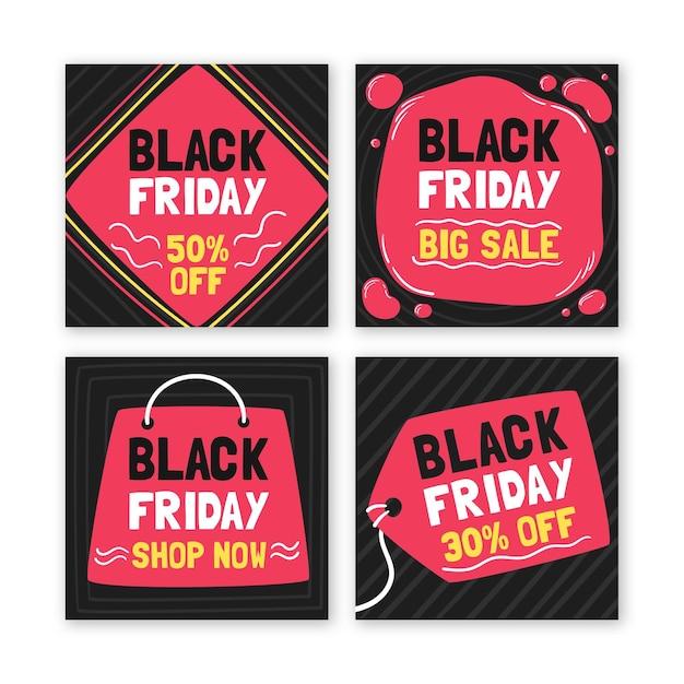 Коллекция рисованной черной пятницы instagram Бесплатные векторы