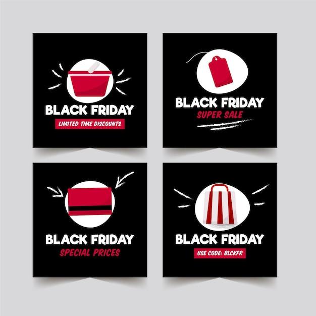 Коллекция рисованной черной пятницы instagram Premium векторы