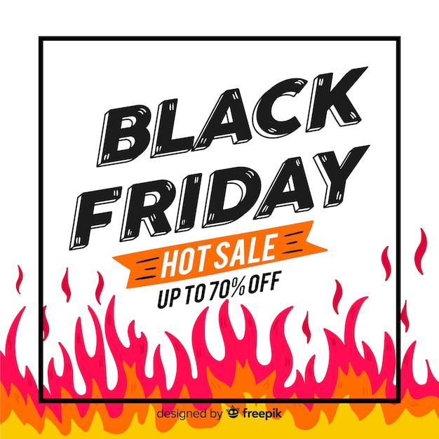 Hand drawn black friday with flame Free Vector