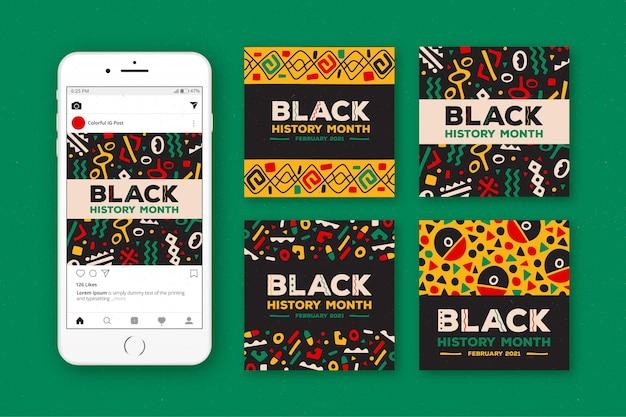 Коллекция сообщений instagram с рисованной черной историей Бесплатные векторы