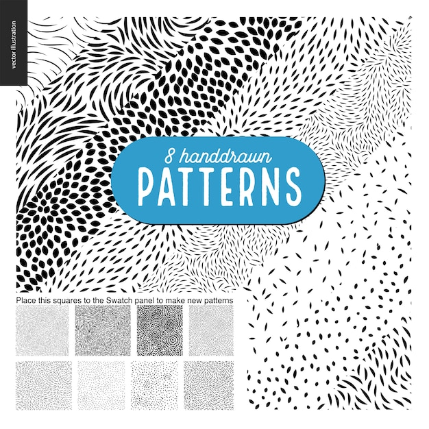 Hand drawn black and white 8 patterns set Premium Vector