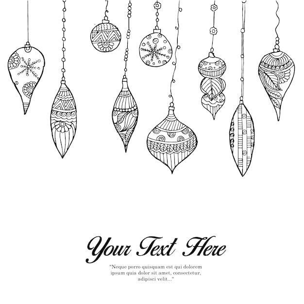 Hand drawn black & white bells background Free Vector