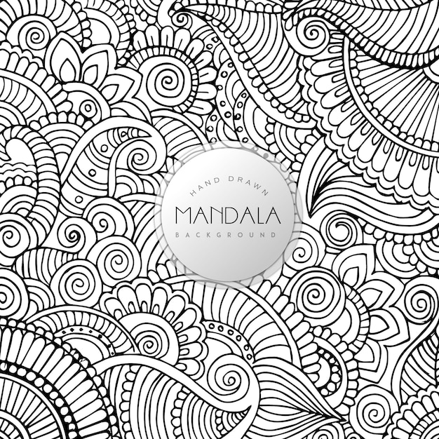Hand drawn black and white floral mandala pattern background Free Vector