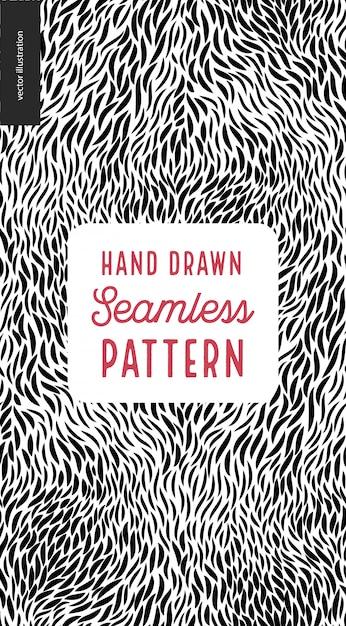 Hand drawn black and white pattern Premium Vector