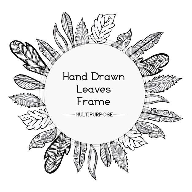 Hand Drawn Black And White Rounded Floral Frame Design Vector Free