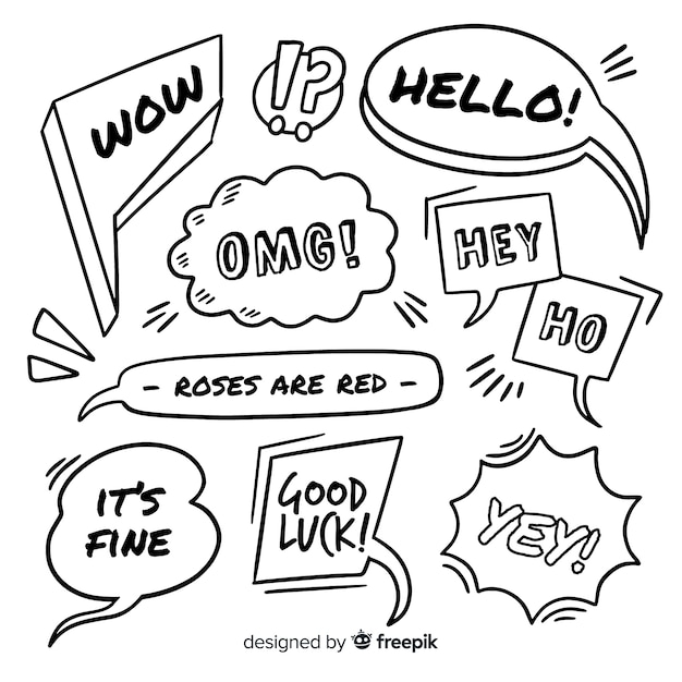 Hand drawn black and white speech bubbles Free Vector