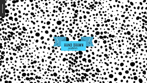 Hand drawn black and white stains pattern background Premium Vector