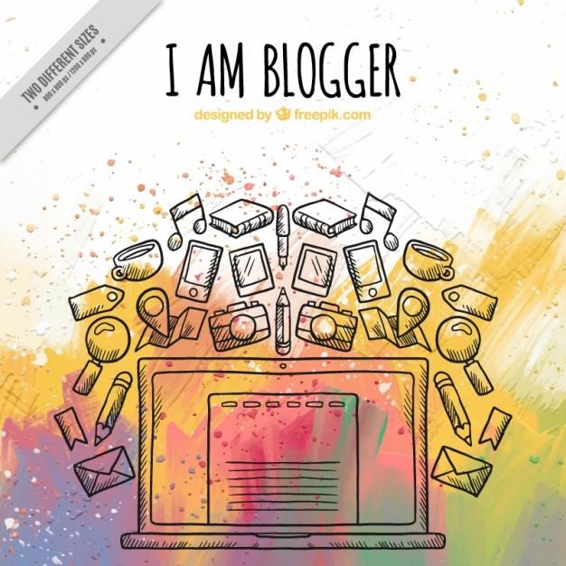 دست کشیده پس زمینه عناصر وبلاگ نویس در اثر آبرنگ
