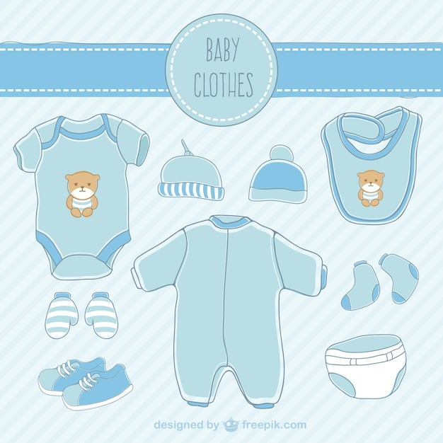 Hand drawn blue baby clothes