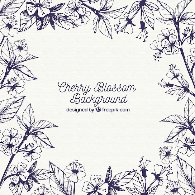 Hand drawn blue cherry blossom background Free Vector