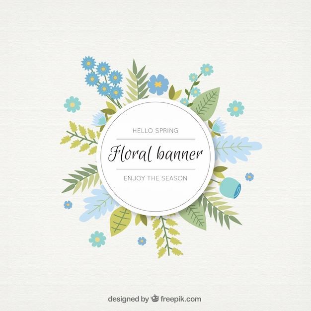 Hand Drawn Blue Flowers And Leaves Floral Banner 844020