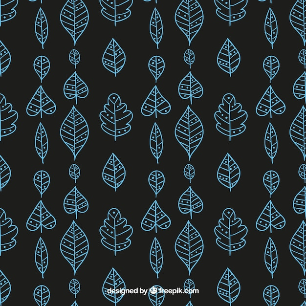 Hand drawn blue leaves pattern in hand drawn\ style