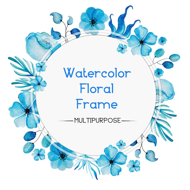 Hand Drawn Blue Watercolor Floral Rounded Frame Design Free Vector
