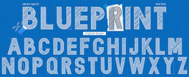 Hand drawn blueprint alphabet template Premium Vector