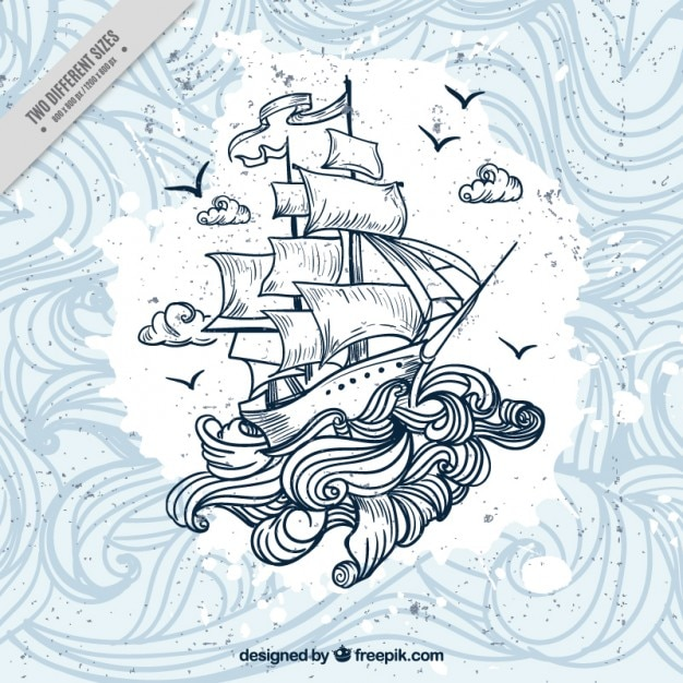 Hand drawn boat with waves background Free Vector