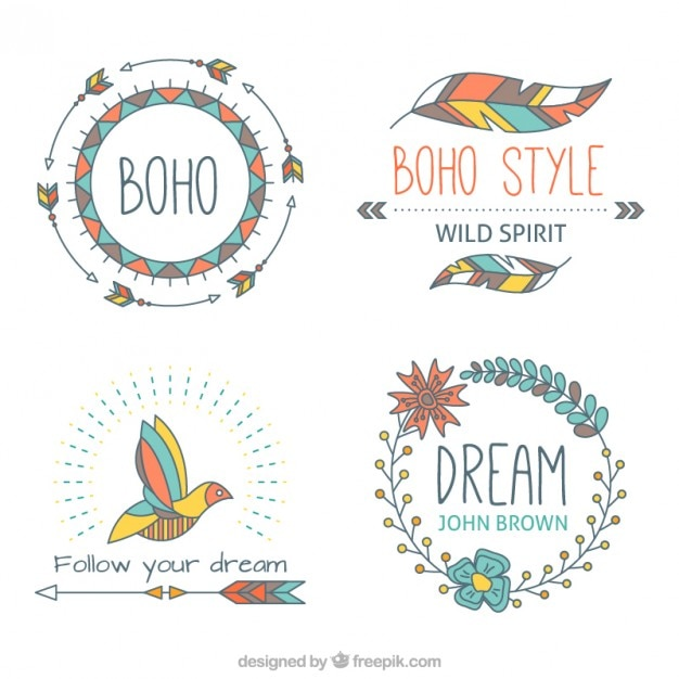 Hand drawn boho aelements with soft tones Vector | Free Download
