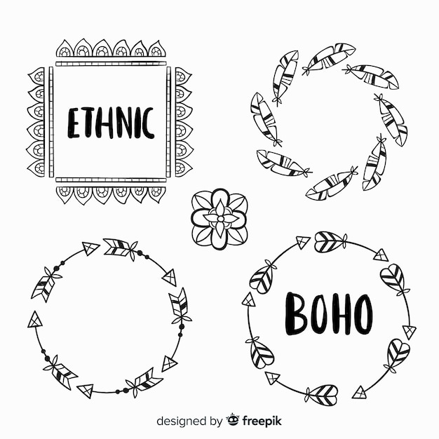 Hand drawn boho decorative element collection Free Vector