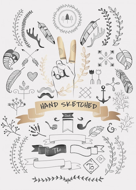 Hand drawn boho doodle element  vectors collection Free Vector