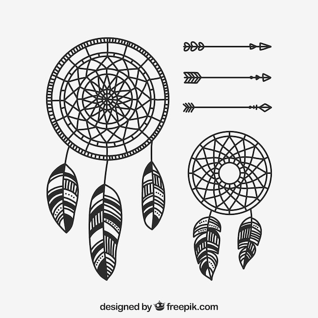 Hand drawn boho element collection Free Vector