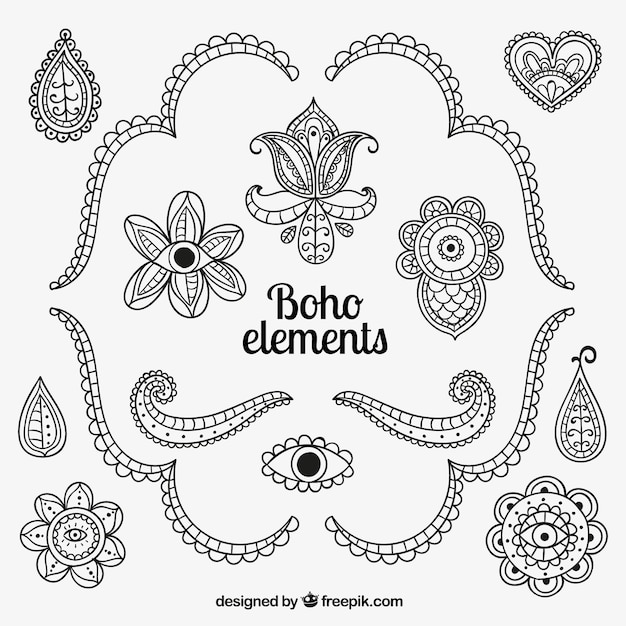 Hand drawn boho elements Vector | Free Download