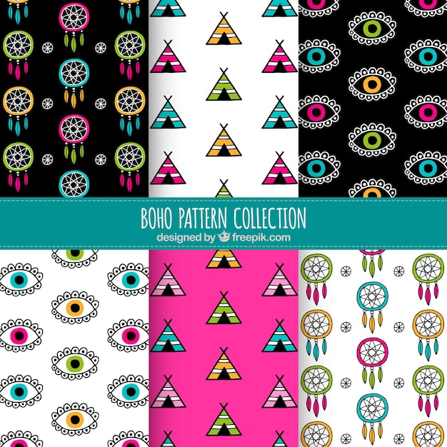 Hand-drawn boho patterns with colored elements Free Vector