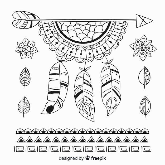 Hand drawn boho style element collection Free Vector
