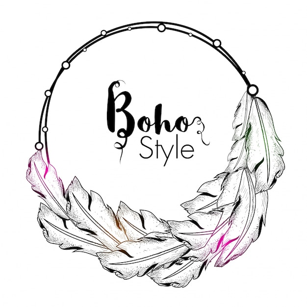 Hand Drawn Boho Style Frame With Ethnic Feathers