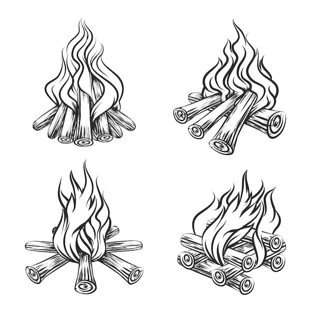 Hand drawn bonfire set Free Vector