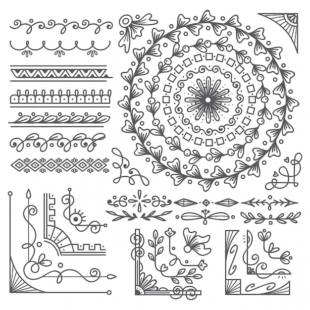 Hand drawn border and frame, wedding card design element Premium Vector
