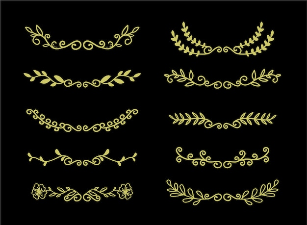 Hand drawn borders elements set collection, floral gold ornament vector Premium Vector