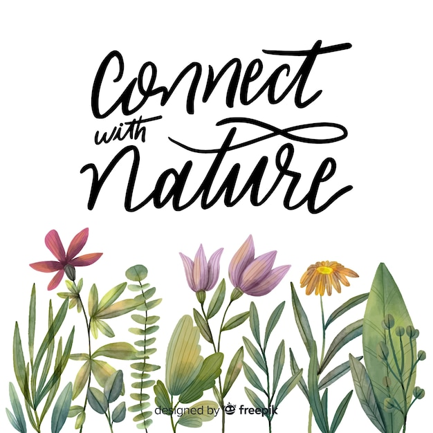 Hand drawn botanical lettering background Free Vector