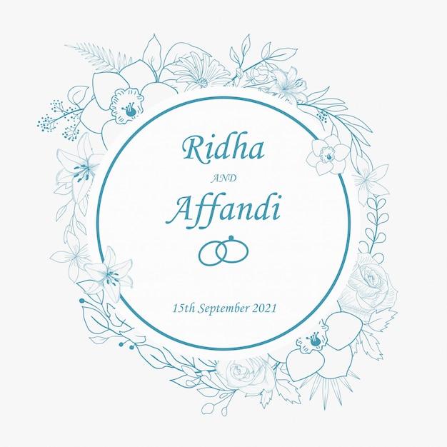 Hand drawn botanical wedding invitation Premium Vector