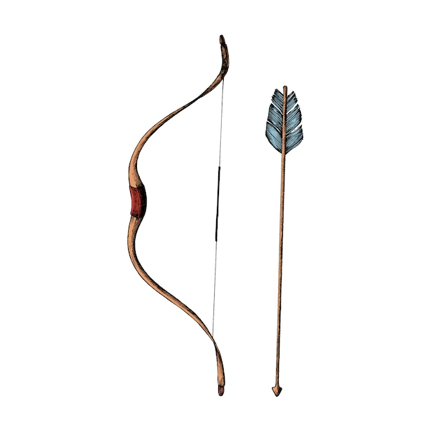Hand drawn bow and arrow Free Vector