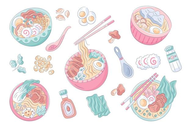 Ciotole di zuppa di ramen disegnate a mano Vettore gratuito