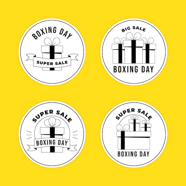 Hand drawn boxing day sale badge collection Free Vector