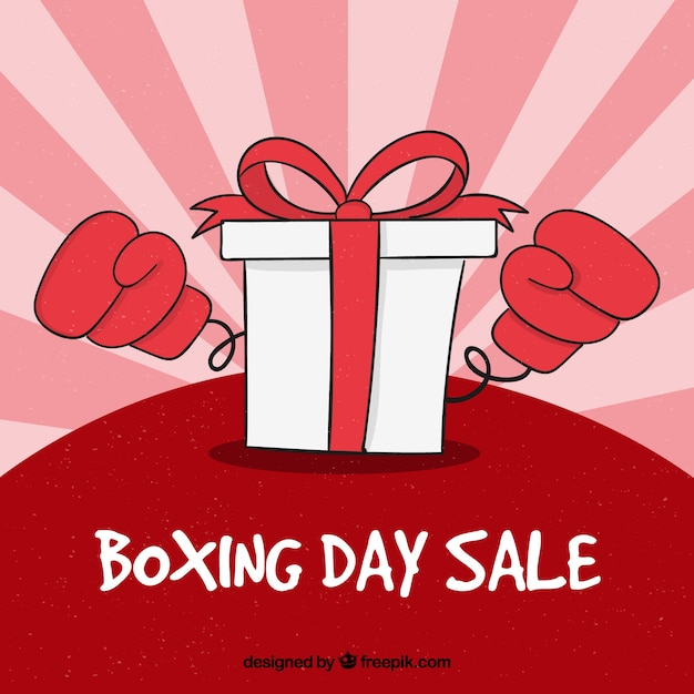 hand drawn boxing day sale badge with big gift box and gloves vector
