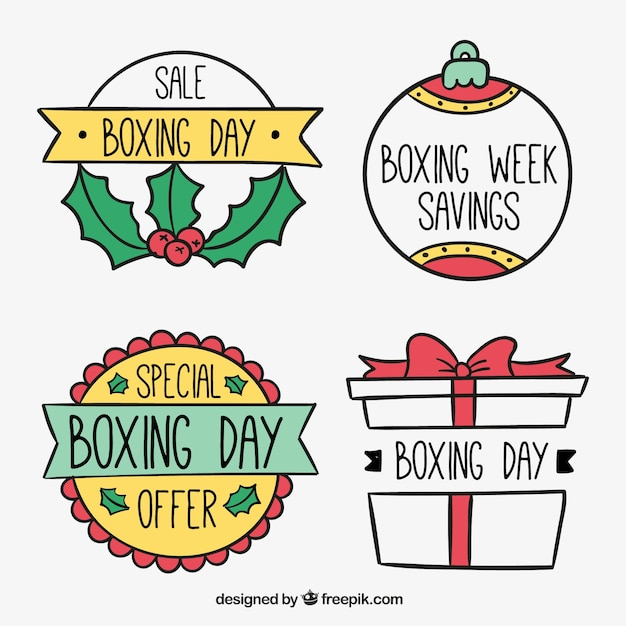 Hand drawn boxing day sale badges