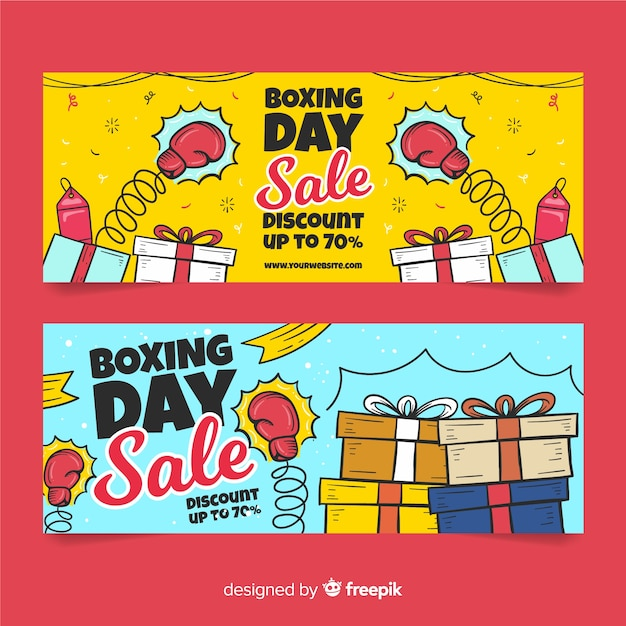 Hand drawn boxing day sale banners template Free Vector