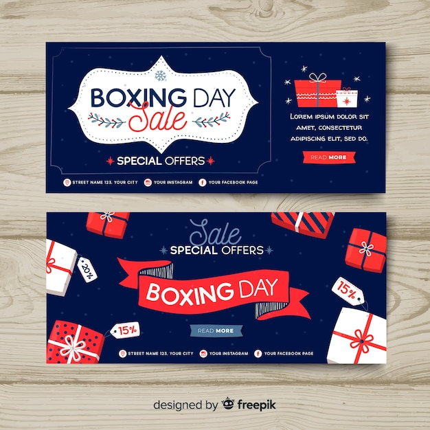 Hand drawn boxing day sale banners Free Vector