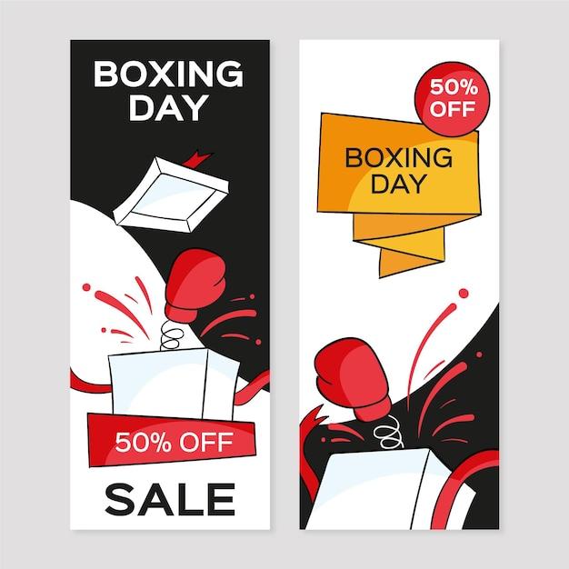 Banner di vendita di boxe day disegnati a mano Vettore gratuito
