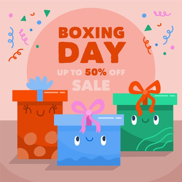 Hand drawn boxing day sale gifts Free Vector