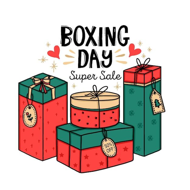 Vendita di boxe giorno disegnato a mano Vettore gratuito