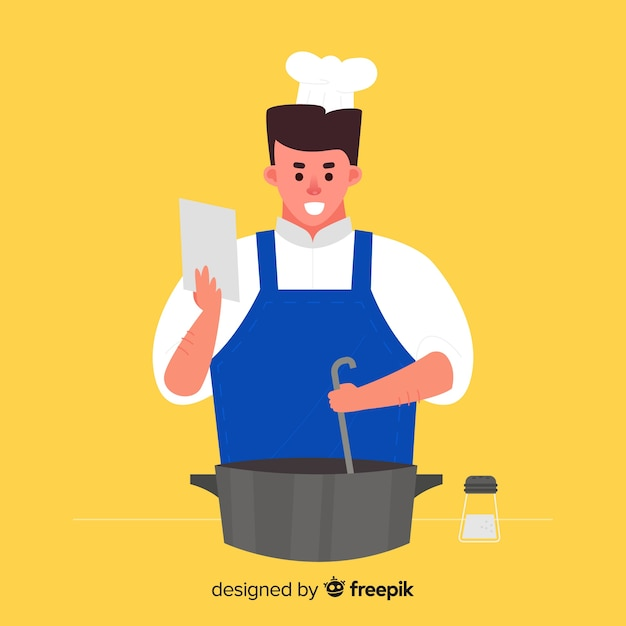 Hand drawn boy cooking background Free Vector