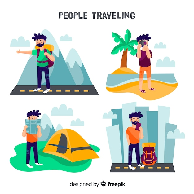 Hand drawn boy travelling collection Free Vector