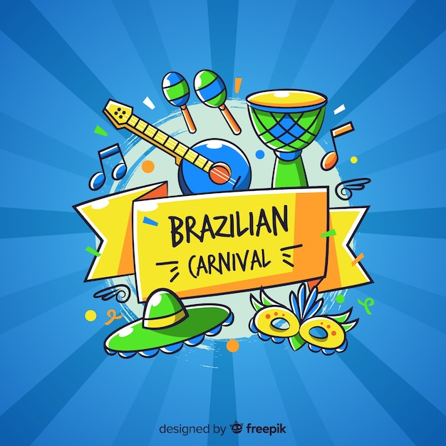 Hand drawn brazilian carnival background Free Vector