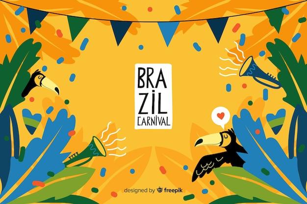 Hand drawn brazilian carnival background Premium Vector