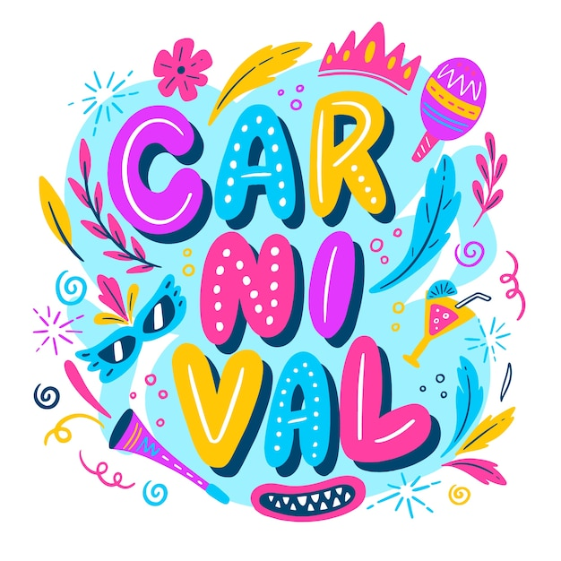 Hand drawn brazilian carnival background Free Vector