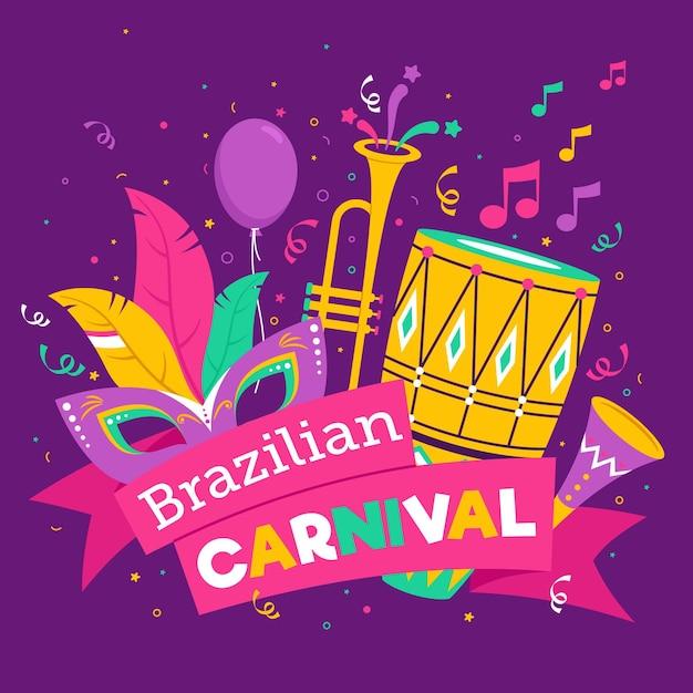 Нарисованная рукой концепция бразильского карнавала Бесплатные векторы